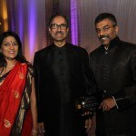 Board Chair Lata Krishnan, Gala Chair & Trustee Mukesh Gangwal, and Gala Honoree Chocko Valliappa at the 2012 Chicago Gala
