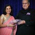 AIF Board Member Victor Menezes hands award to Honoree Chanda Kochhar at the 2012 NY Gala