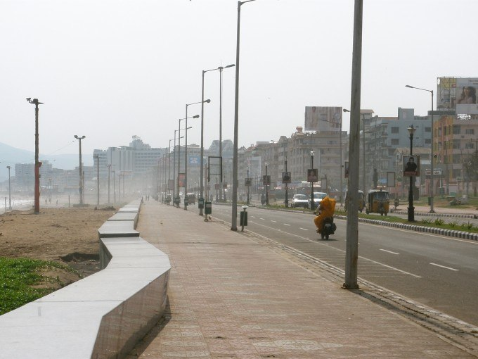 A quiet Sunday on Vizag's Beach Road.