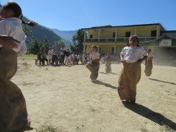 Sack race!! They are coming to get you!!