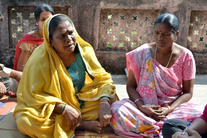 Two members of the Nyay Samiti (justice committee) supported by Utthan discuss recent incidents of violence against women in Panchmahal District, Gujarat
