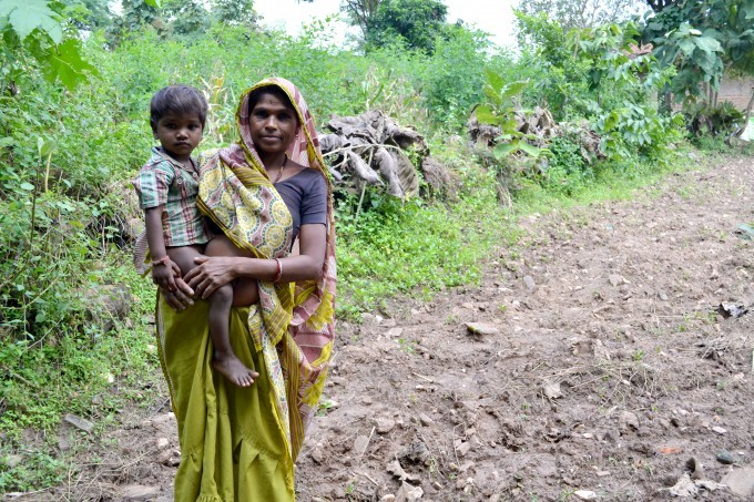 A tribal woman and son in Dahod district, Gujarat