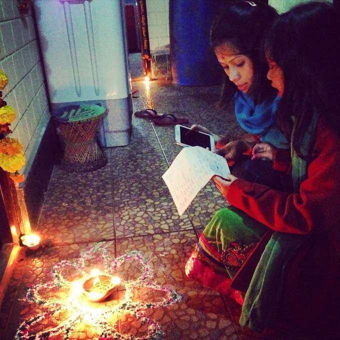 Girls caroling at houses. Darjeeling, West Bengal. Photo and caption by Miriam Hartmann