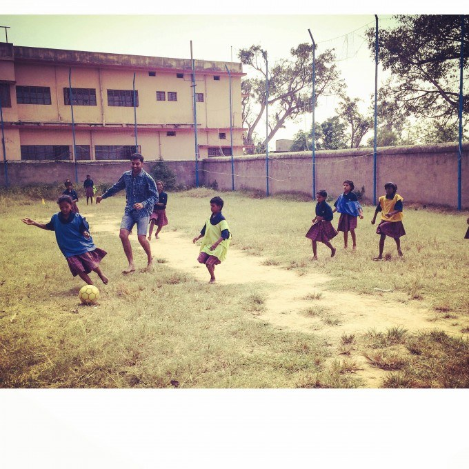 This is one of the images taken during the sports period of the Std.I-III where I tried playing football.