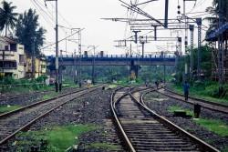 Train tracks at Sonarpur Junction, outside of Kolkata. West Bengal, September 2015