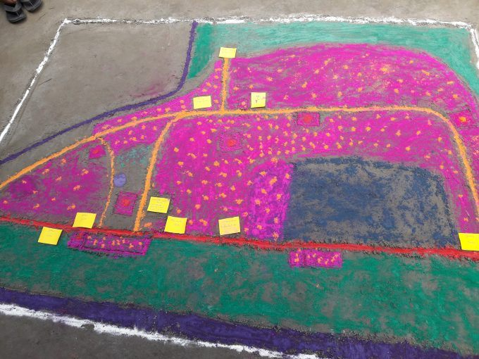 The village map that was drawn through the participatory rural appraisal (PRA) exercise.