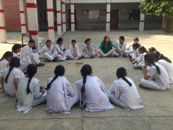 Middle school students at Lady Irwin Senior Secondary School, Delhi discuss their aspirations and goals as we pass around a makeshift microphone (October 2015)