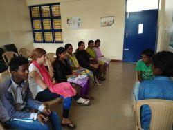 Students practice their speaking through roleplays at Mauruti Seva Nagar, Bangalore Pratishtha Centre (January 2017)