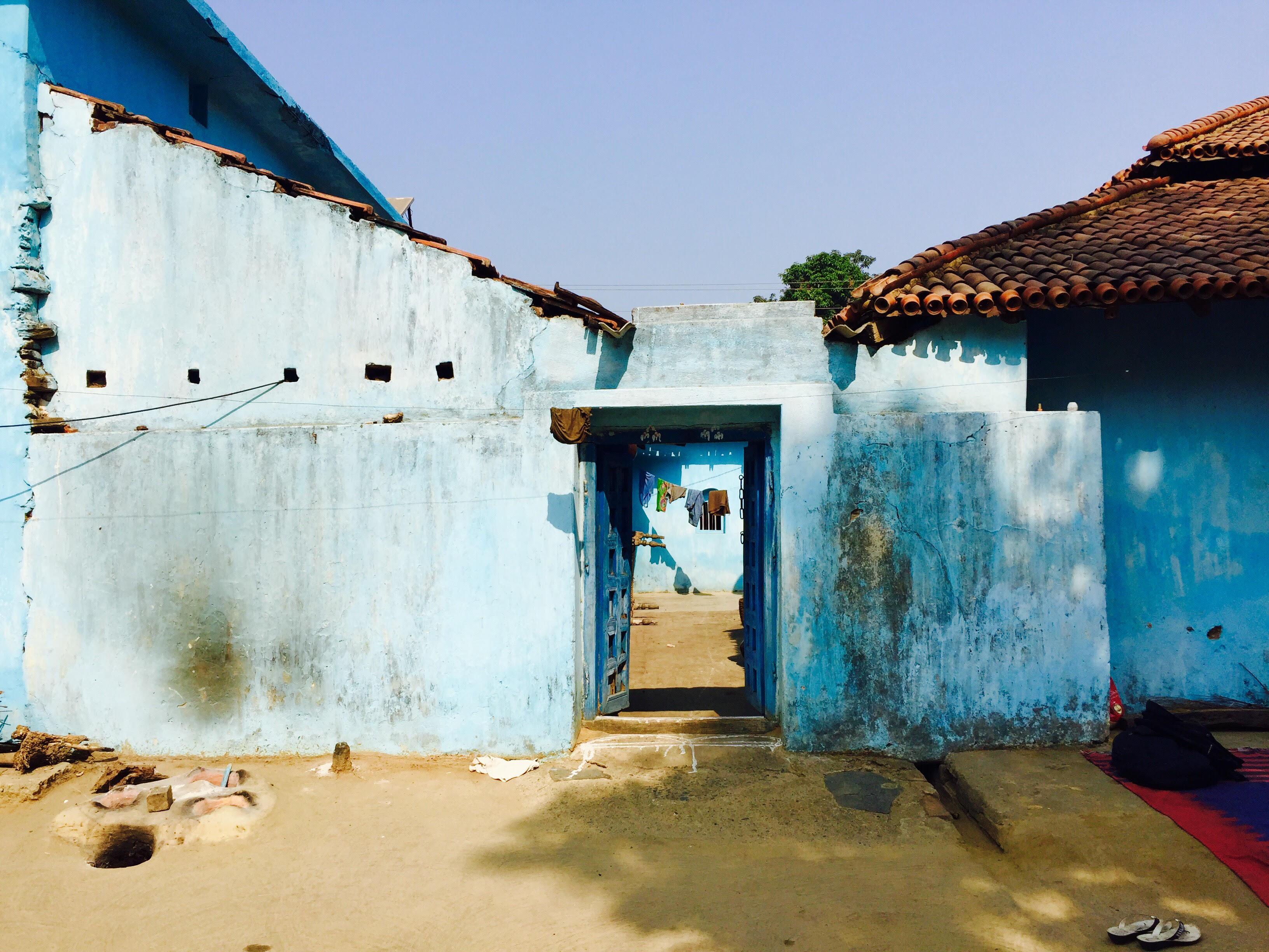 Blue Houses in Seraikela District in rural Jharkhand