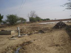 Picture 1-Sant ki Dhani, Village Aau, Ajmer, Rajasthan surrounded by saltpans. This hand-pump had sweet water about 25 years ago and now only has salty water