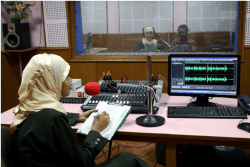 A radio program in progress at Radio Mattoli 90.4 FM in Wayanad, Kerala
