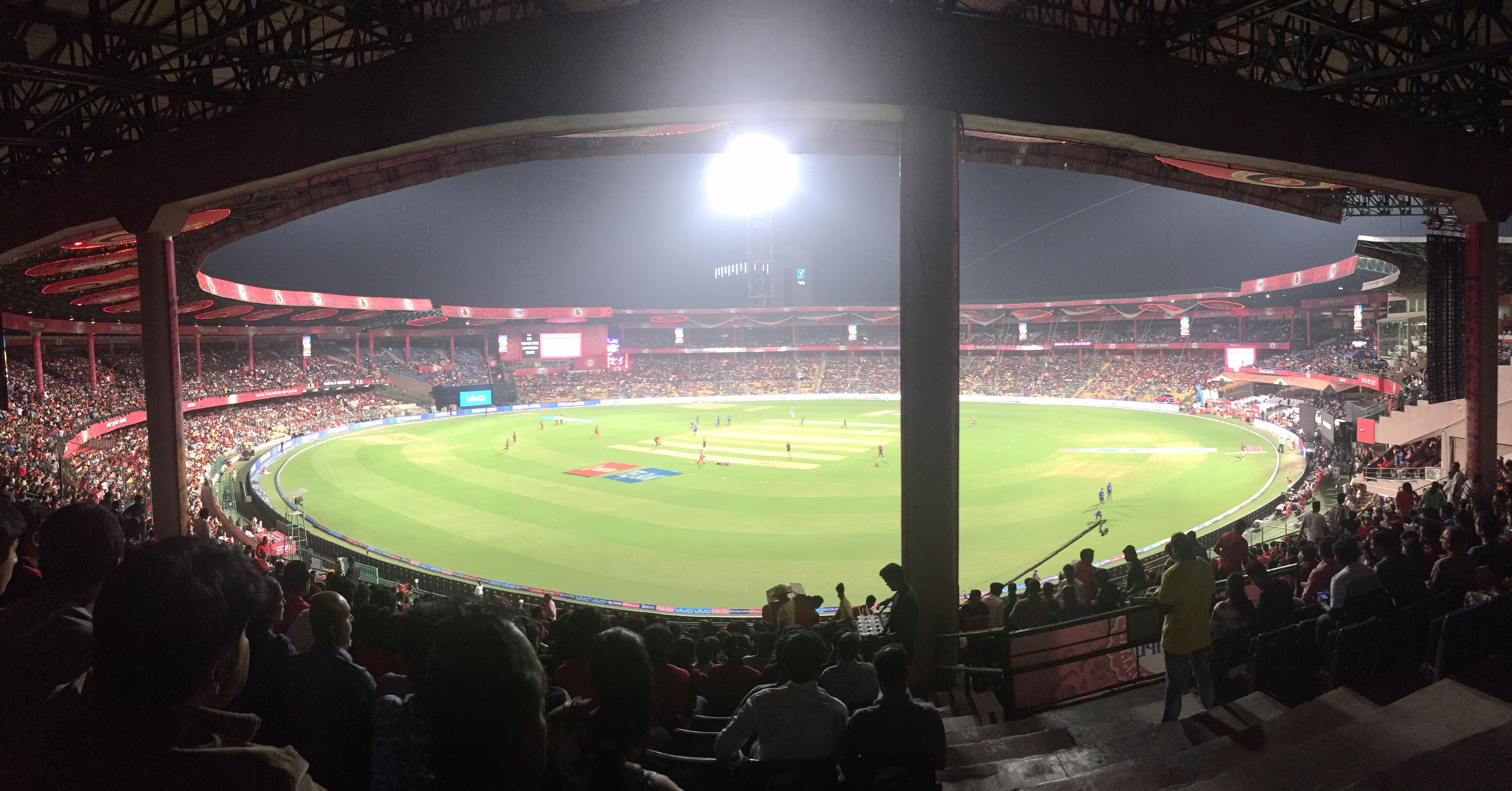 At a cricket match in Bangalore