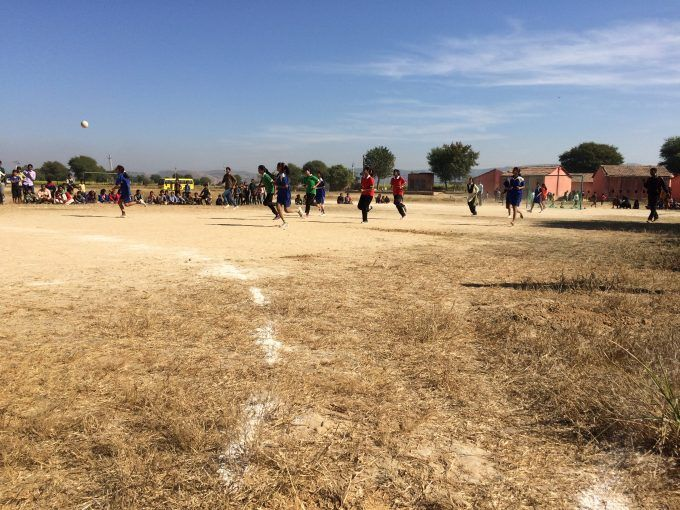 An intense game of handball--Jaganpura students won by over twenty points.