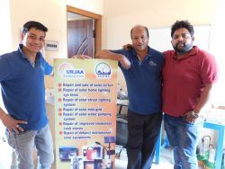 Picture 8:- The Urjaa Samadhan team at the Super Servicing Center (SSC) in Semiliguda, Koraput, Orissa. From Left to Right- Pradeep Sahoo (Project Co-ordinator), Binduji (solar entrepreneur in Koraput); Sagar Mahapatra (Co-founder of Urjaa Samadhan)