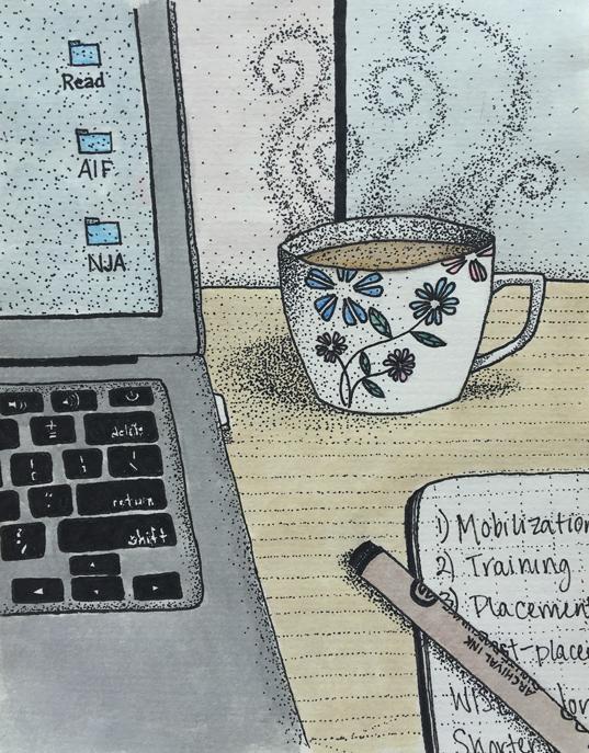 Hot chai, notebook, laptop