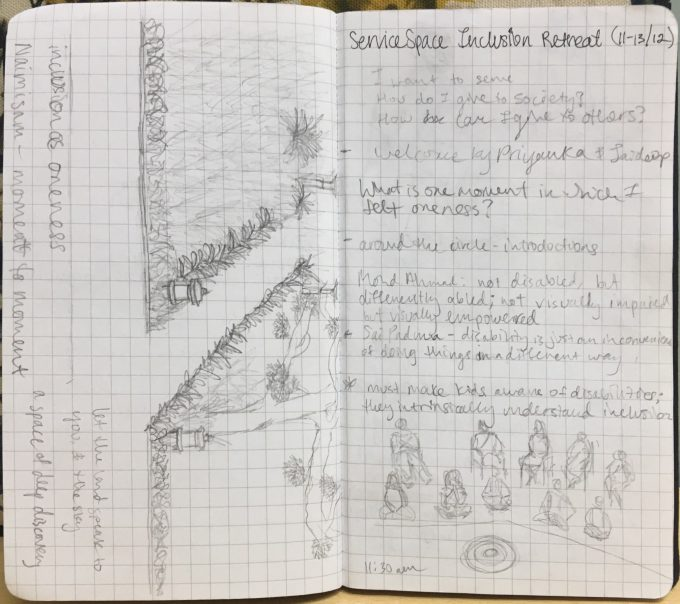 Two pages of messy notes from the first day of the retreat, containing sketches of a garden pathway and a circle of participants.