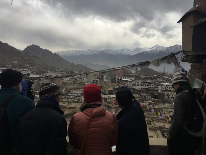 Discussing the urban development of Leh town since Ladakh opened to tourism in 1974. Tibet Heritage Fund — Leh Old Town Initiative project coordinator, Sonam Gyatso, points out various areas of old town to demonstrate the waves of growth. December, 2017.