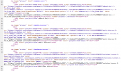 """Segment of source code for the """"Artists"""" page of Not Just Art. Lines 463 through 482 are visible, with text in red, blue, purple, and black."""