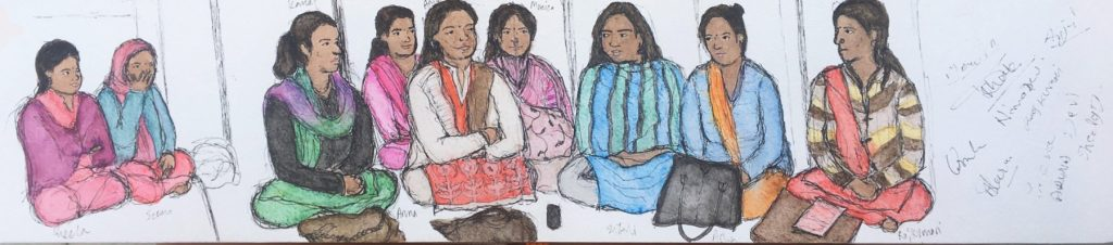 A watercolor and pen sketch of nine women seated cross-legged on the floor, discussing health education. Their signatures are on the right of the image.