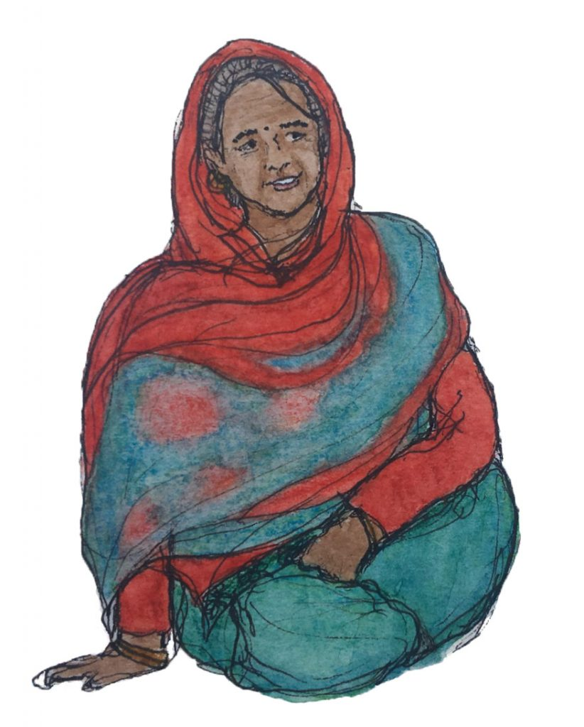 Watercolor and pen drawing of an old woman seated cross-legged, dressed in a red sweater, teal green pants, and a red and teal scarf.