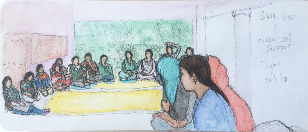 A rough watercolor and pen sketch of 15 people seated in a semicircle on an outdoor porch.