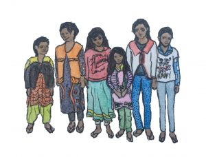 A watercolor and pen sketch of six adolescent girls standing in a row, smiling at the camera.