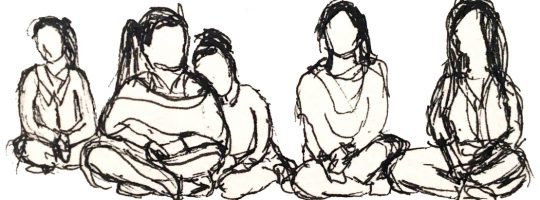 A rough pen sketch of five girls seated on the ground.