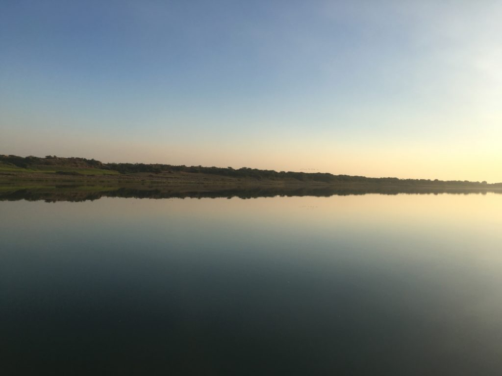 Flat landscape reflected in still waters of a river