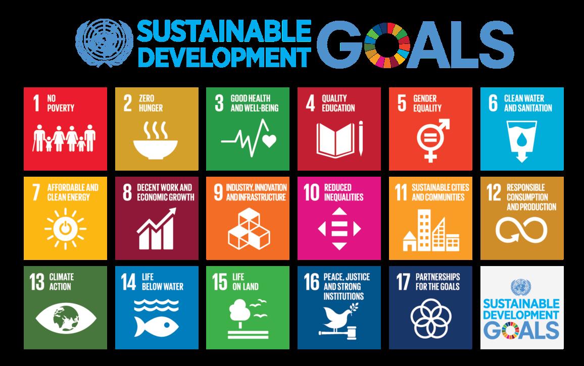 Colorful diagram of the 17 UN Sustainable Development Goals.
