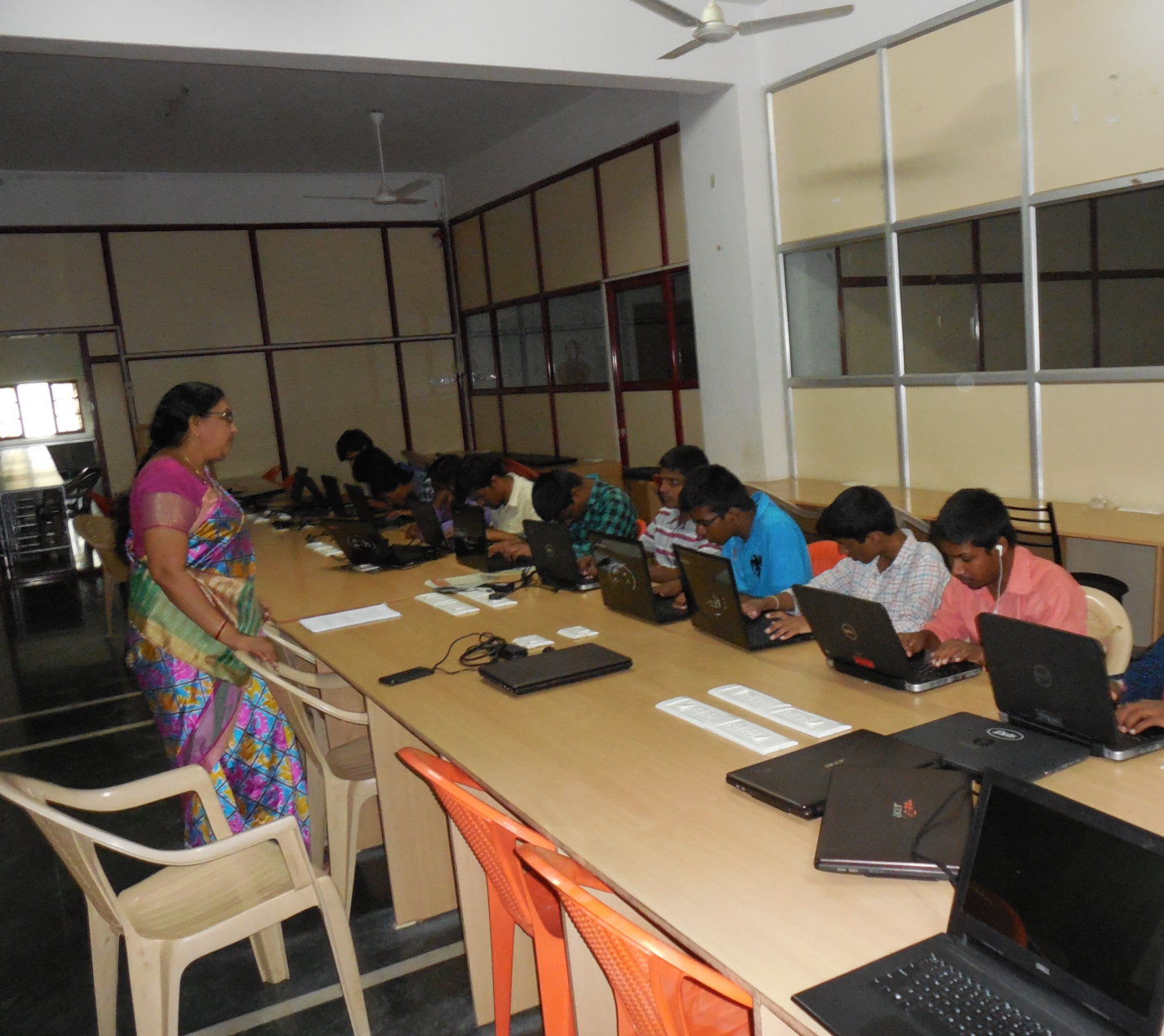 Computer training sessions being conducted for the visually impaired through Vision Aid