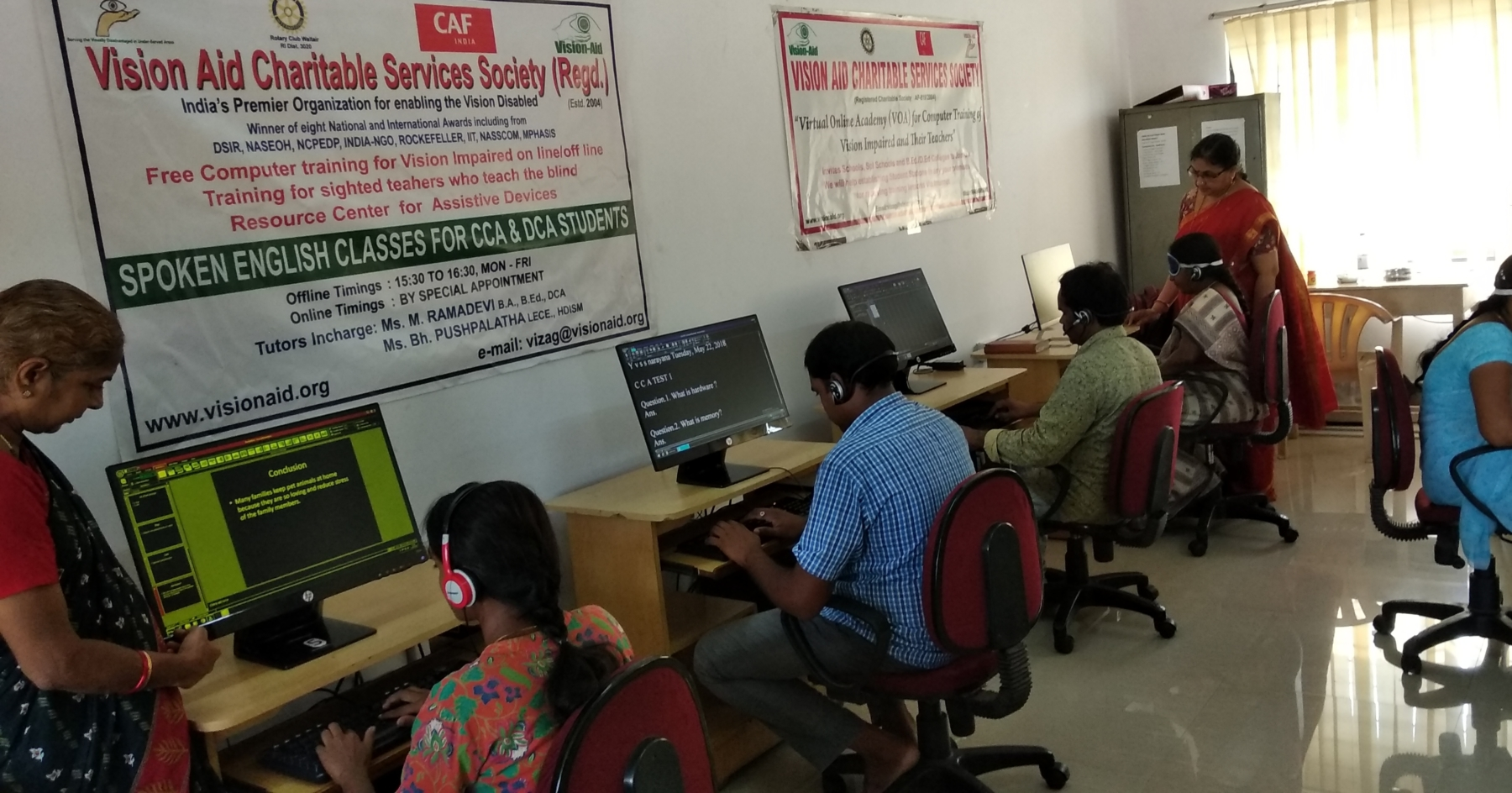Visually impaired students during computer training at Vision Aid Vizag