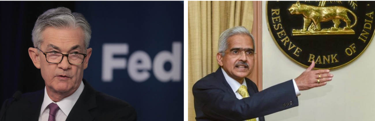 The Chairman of the Federal Reserve, Jerome Powell, and the governor of the Reserve Bank of India, Shaktikanta Das