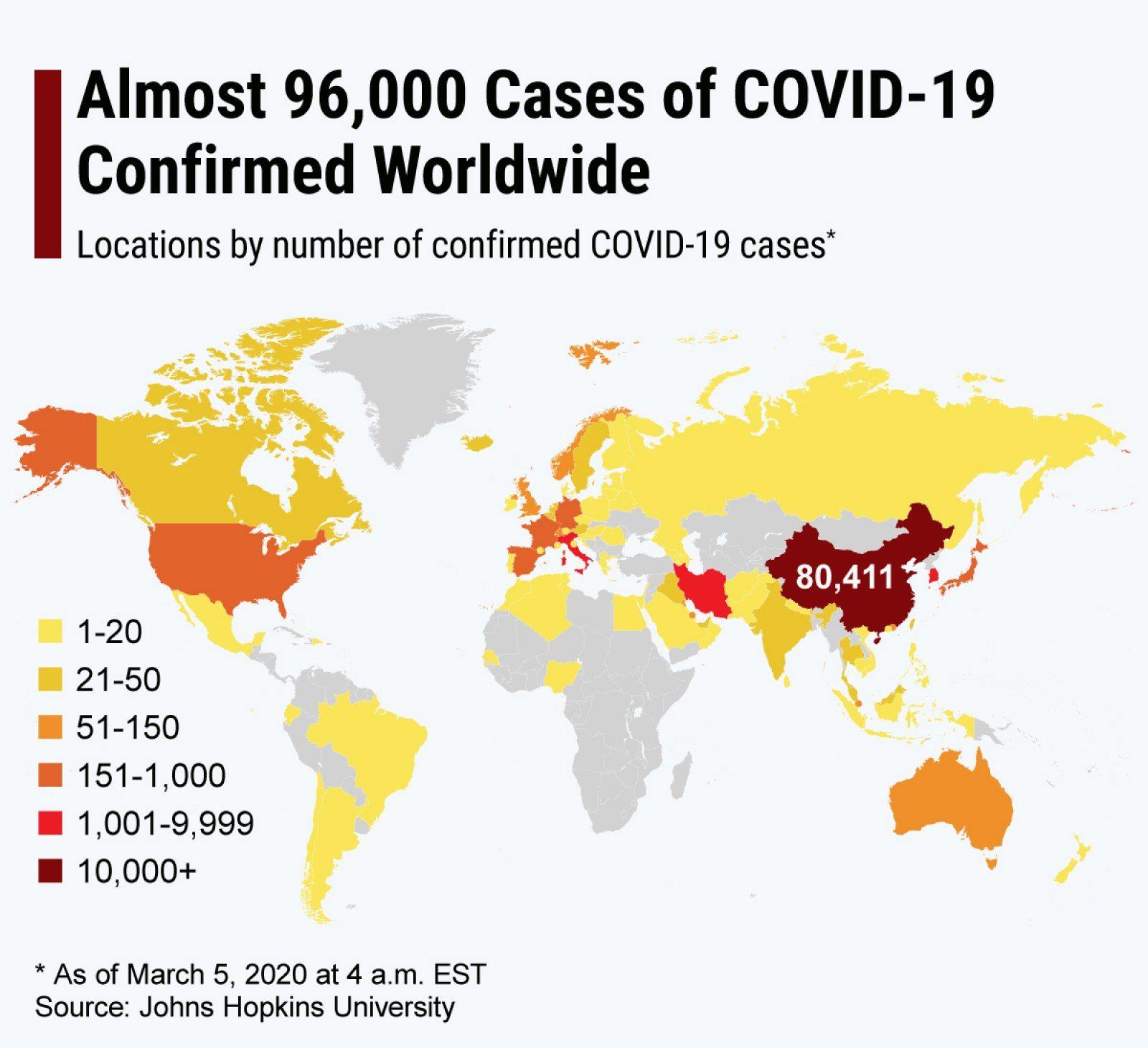World map showing the spread of coronavirus