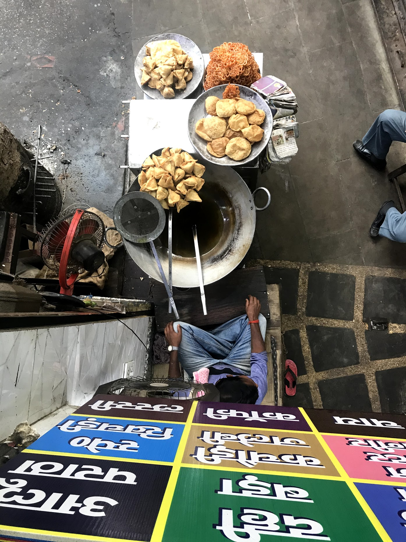 View of street food from above.