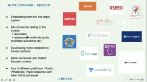 A slide from Maitreyi's presentation on EdTech.