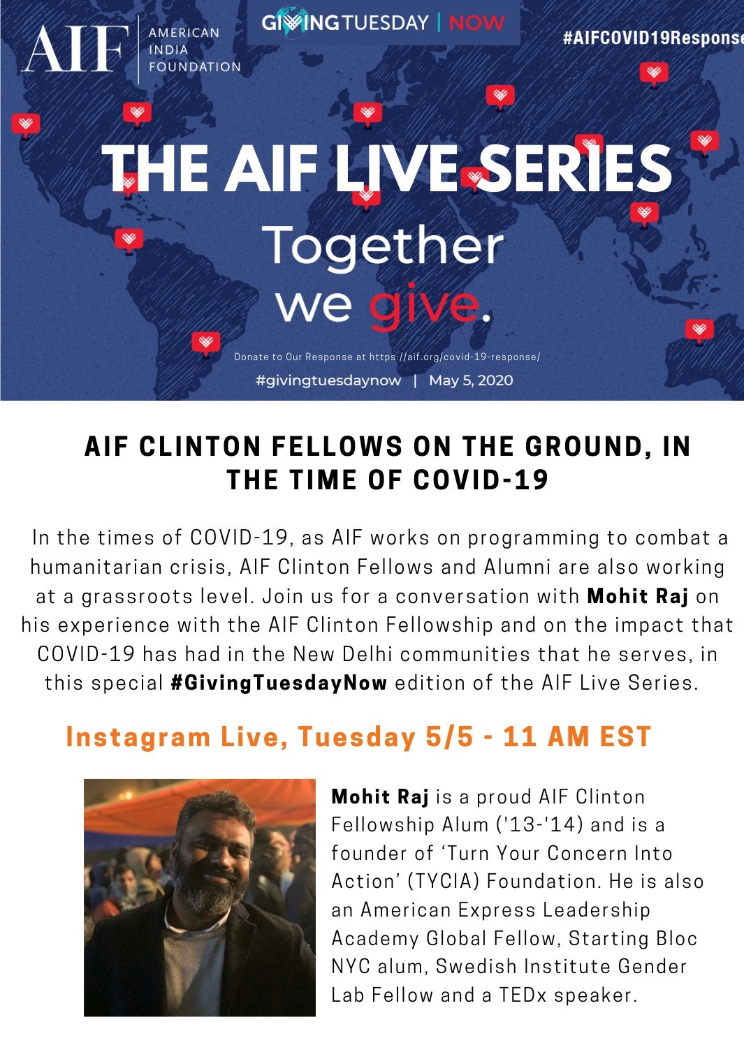 A flyer for the AIF Instagram Live series featuring Mohit Raj.