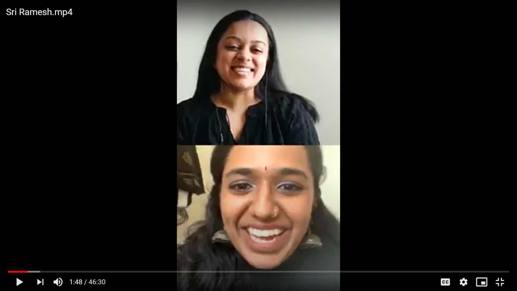 A screenshot from Sri's Instagram Live discussion.
