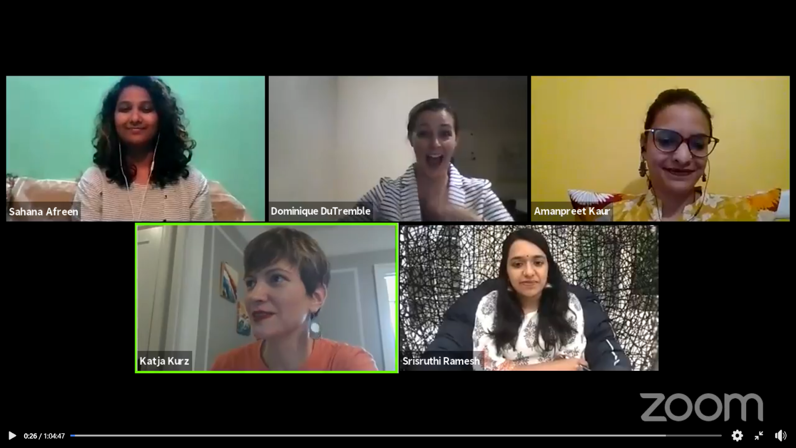 A screenshot of panelists on Day 4 beginning their Q&A.