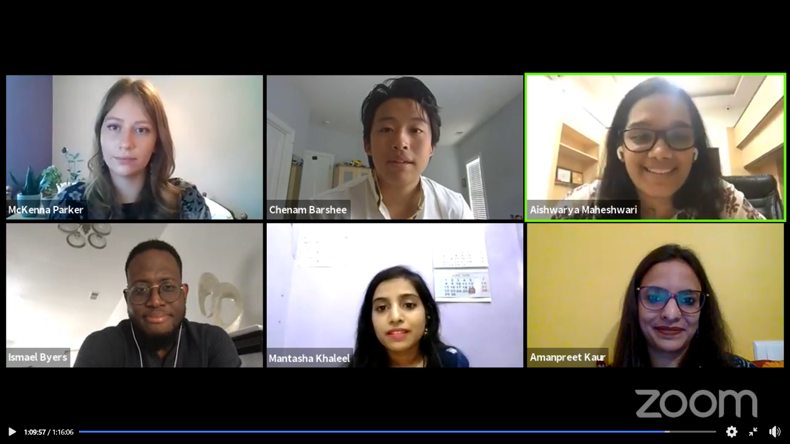 A screenshot of panelists on Day 5 beginning Q&A.
