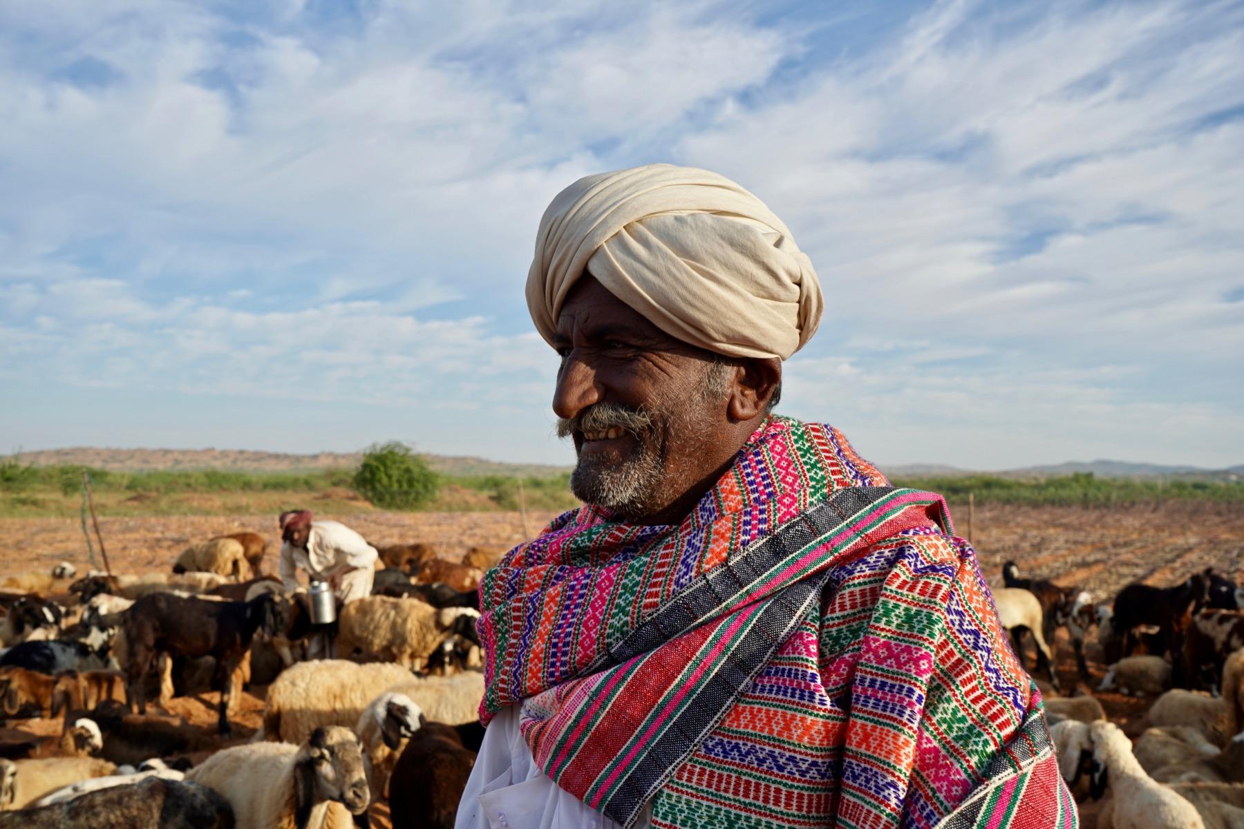 A Maldhari pastoralist wearing Kutchi Dhabla (shawl)