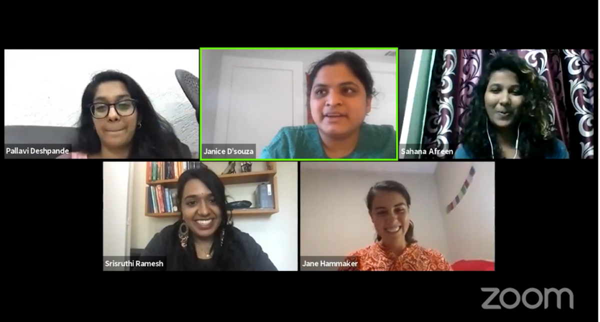 A screenshot of the Four AIF Clinton Fellows discussing with Alumna Janice D'souza.
