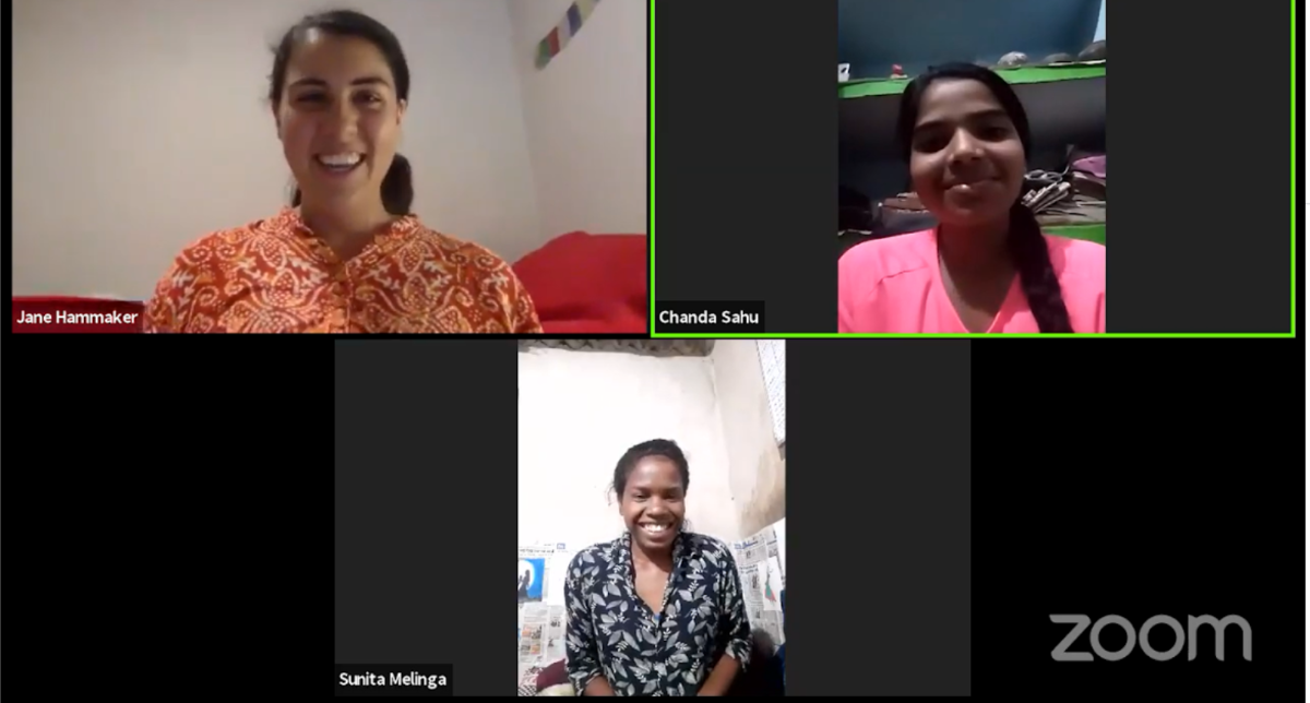 A screenshot of Fellow Jane Hammaker and two of her YUWA students having a discussion.