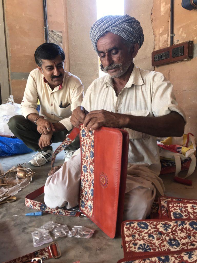 Pababhai, leather artisan at Khamir campus