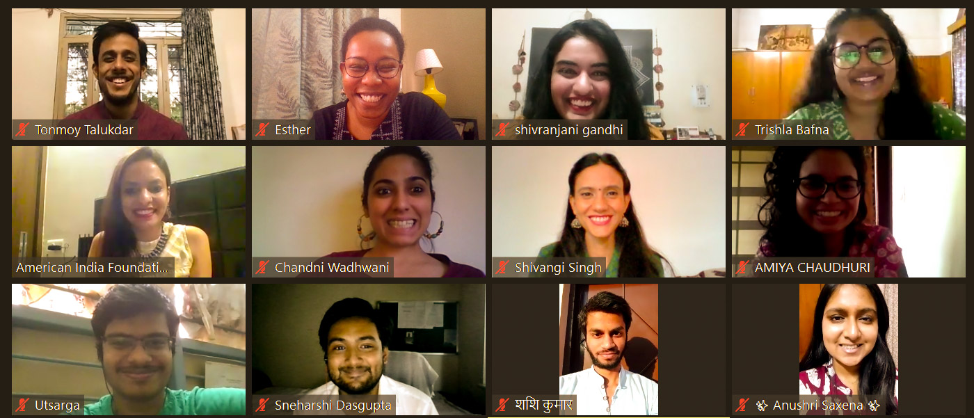 Twelve AIF Fellows and Staff during a Zoom session, smiling for a virtual group picture.