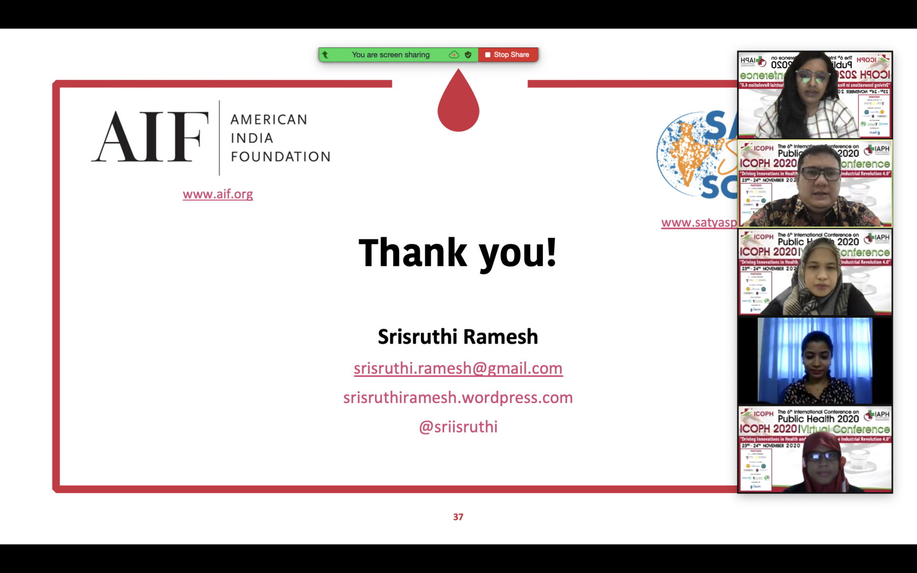 Srisruthi presenting on Zoom with her 4 co-presenters. Contact details: srisruthi.ramesh@gmail.com. srisruthiramesh.wordpress.com. Social media: @sriisruthi.