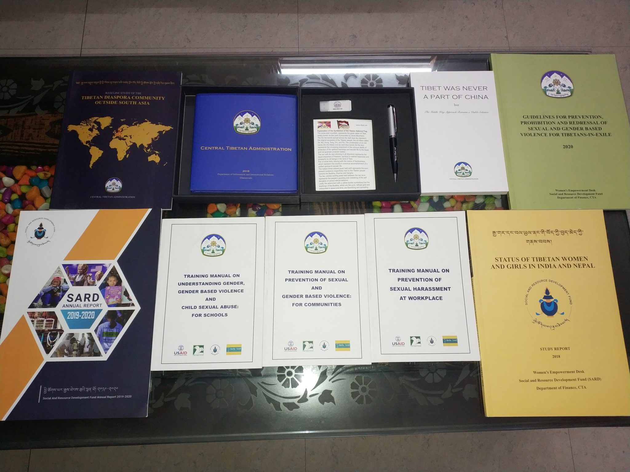 Book titles include: SARD Annual Report 2019-20, Training Manual on Understanding Gender, Gender Based Violence and Child Sexual Abuse, Status of Tibetan Women and Girls in India and Nepal, Training Manual on Prevention of Sexual Harassment at Workplace, Tibetan Diaspora Community Outside of South Asia.