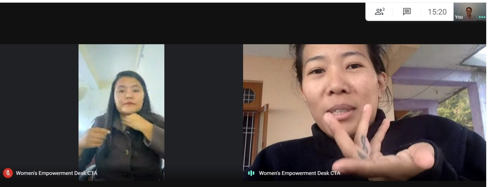 Shivangi on a video call with two female members of the Women's Empowerment Desk at CTA.