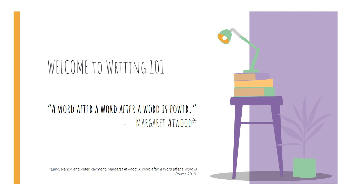 """Quote from Margaret Atwood, """"A word after a word after a word is power."""" From Nancy Lang and Peter Raymont in the film """"Margaret Atwood: A Word after a Word after a Word is Power"""" from 2019."""