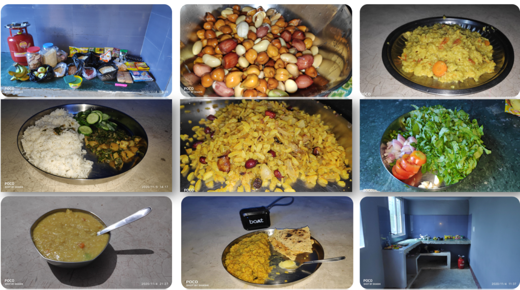 Collage of foods and ingredients arranged on a table.