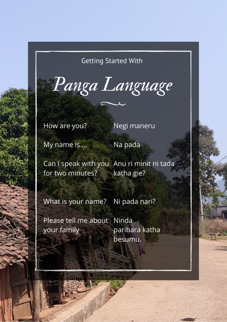Few introductory phrases in Panga language from Odisha with their English translation.